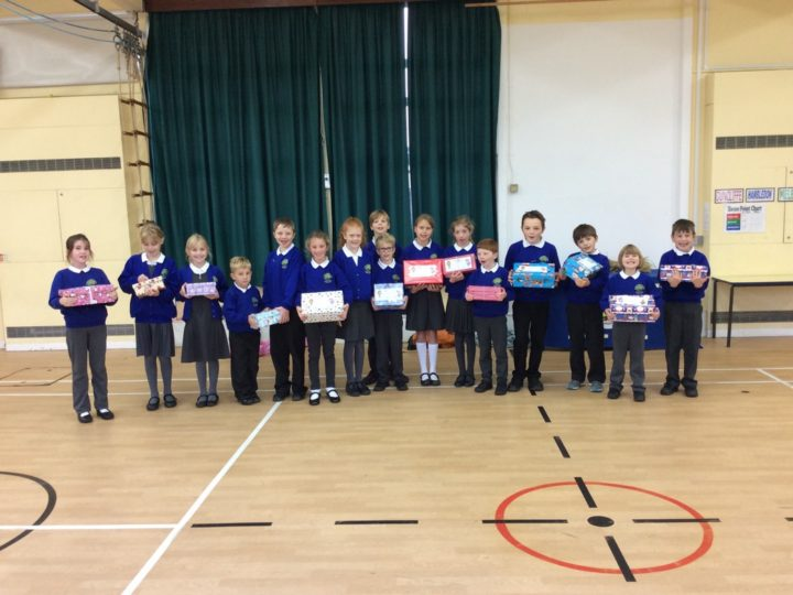 Shoe boxes for the Rotary Club.